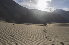 Mountain and sand in Hunder village, Leh Stock Photos