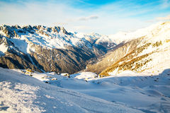 Mountain scape and Chamonix town view from the Stock Photography