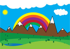 Mountain scene. Vector illustration of a mountain scene with a rainbow Royalty Free Stock Images