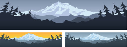 Mountain Scene. Banner with room for text Stock Photos