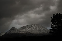 Mountain Scene. Black and white mountain scene taken in the highlands of Scotland in winter Stock Photography