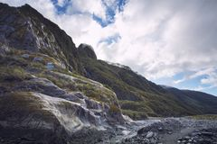 Mountain scene in franz josef glacier most popular natural traveling destination in west coast of new zealand royalty free stock photography