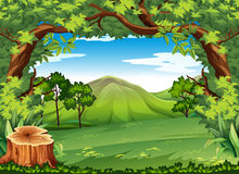 Mountain scene with green trees. Illustration Stock Images