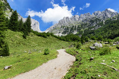Mountain scene hiking in the Alps on a sunny day. Wilder Kaiser chain near Wochenbrunner Alm,Tyrol, Austria Royalty Free Stock Image