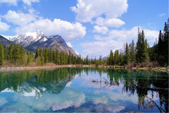 Mountain Scene with Lake Reflections Stock Image