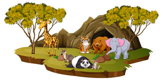 Mountain scene with many animals. Illustration stock illustration