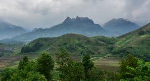 Mountain scene in Northern Vietnam stock images