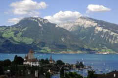 Mountain scene, Spiez, Switzerland Stock Photos