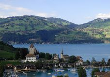 Mountain scene, Spiez, Switzerland Stock Images
