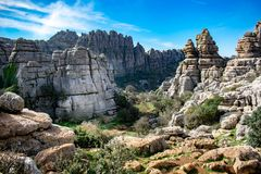 A mountain scene in Torcal, Spain stock image