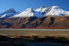 Mountain Scenery of New Zealand South Island. Beautiful mountain scenery on road to Mt Cook in New Zealands South Island royalty free stock photography