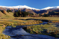 Stream and mountain scenery Royalty Free Stock Images