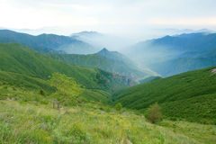 Mountain scenery. The mountain scenery in overcast sky royalty free stock photography