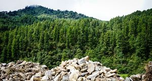 Mountain scenery in Bhutan Stock Photo