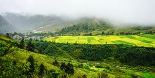 Mountain scenery in Bhutan Royalty Free Stock Photos