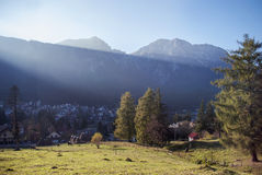 Mountain scenery. Busteni mountains in Romania, view over village Stock Images