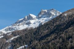 Italy, Cervinia, snow covered mountains. Mountain scenery in Cervinia, Valtournenche, Aosta Valley, Italian Alps Stock Photography