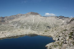Mountain scenery with deep blue lake in Spanish Pyrenees Royalty Free Stock Image