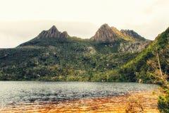 Cradle Mountain. Mountain scenery with Dove Lake in front of massive Cradle Mountain , Australia, Tasmania, Cradle Mountain Lake St. Clair Park royalty free stock images