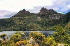 Cradle Mountain. Mountain scenery with Dove Lake in front of massive Cradle Mountain , Australia, Tasmania, Cradle Mountain Lake St. Clair Park royalty free stock photo
