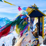 Mountain scenery from gokyo ri with prayer flags Royalty Free Stock Photography
