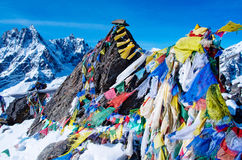 Mountain scenery from gokyo ri with prayer flags Stock Photography