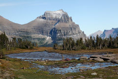 Mountain Scenery Hidden Lake Trail, Glacier N P Stock Photo