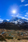 Mountain scenery in Himalaya with snow covered peaks Royalty Free Stock Images