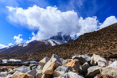 Mountain scenery in Himalaya with snow covered peaks Royalty Free Stock Image