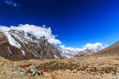Mountain scenery in Himalaya with snow covered peaks Stock Photos