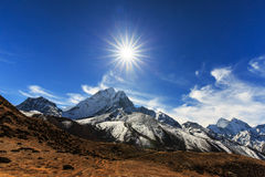 Mountain scenery in Himalaya with snow covered peaks Stock Image