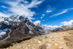 Mountain scenery in Himalaya with snow covered peaks. And glacier valley royalty free stock photo