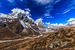Mountain scenery in Himalaya with snow covered peaks Royalty Free Stock Photo