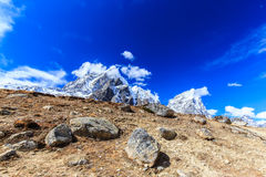 Mountain scenery in Himalaya with snow covered peaks Stock Photo