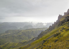 Mountain scenery in Iceland. Rocky mountain scenery seen in Iceland stock photo