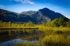 Mountain scenery with lake. And blue sky in Norway royalty free stock photography
