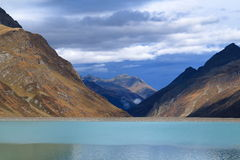 Mountain lake scenery at Silvretta reservoir Stock Photography