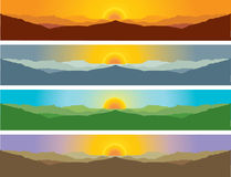 Mountain scenery landscape in four seasons Royalty Free Stock Images