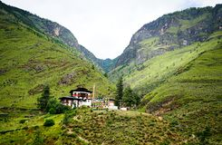 Mountain scenery in Thimphu, Bhutan. Mountain scenery with many Tibetan houses in Thimphu, Bhutan. Bhutan is located on the southern slopes of the eastern Royalty Free Stock Photography