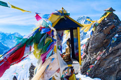 Mountain scenery with prayer flags - Nepal Stock Images