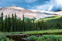 Mountain scenery with small pond in Banff national park Stock Photography