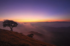 Mountain scenery during sunrise Stock Images