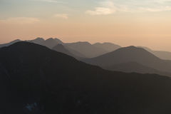 Mountain scenery at sunset Stock Image