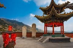 Temple couryard with mountain views. Mountain scenery from a temple courtyard Royalty Free Stock Photos