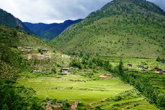 Mountain scenery in Thimphu, Bhutan. Mountain scenery with green valley in Thimphu, Bhutan. Bhutan economy is based on agriculture, forestry and tourism Royalty Free Stock Photo