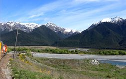 Mountain scenery from Trans Alpine Express, NZ Stock Photo
