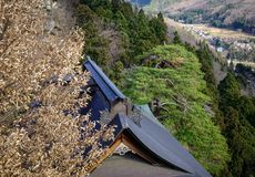 Mountain scenery of Yamadera, Japan. Top of mountain temple in Yamadera, Japan. Yamadera is a scenic temple located in the mountains northeast of Yamagata City Royalty Free Stock Photos