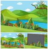 Mountain scenes with many animals. Illustration royalty free illustration