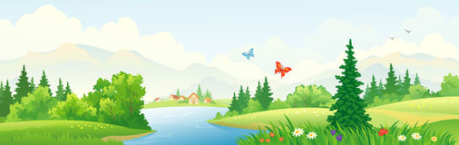 Mountain scenic banner. Illustration of a beautiful river scenery Stock Photos