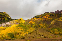 Mountain Scenic in Fall With Rainbow Royalty Free Stock Image